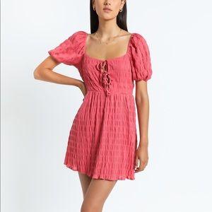 SHOWPO Mirabella Dress Puff Sleeve Watermelon NWT